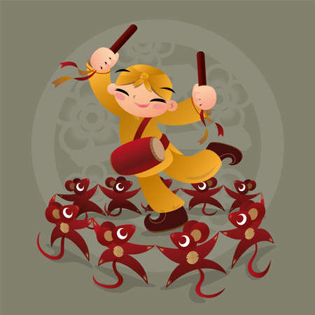 Kid loves playing with Chinese zodiac animal - Rat
