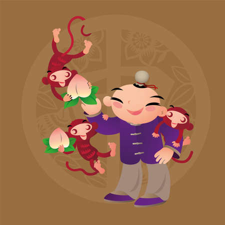 Kid loves playing with Chinese zodiac animal - Monkey