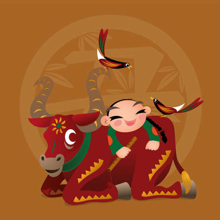 Kid loves playing with Chinese zodiac animal - Ox