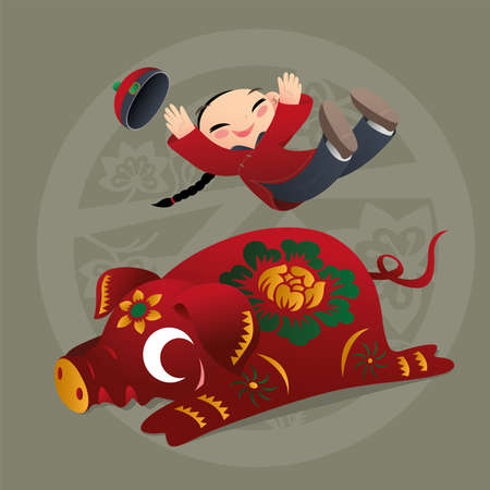 Kid loves playing with Chinese zodiac animal - Pig Illustration