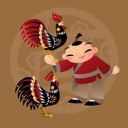 Kid loves playing with Chinese zodiac animal - Rooster