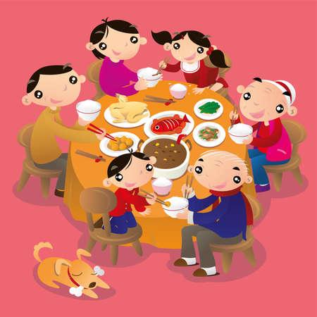 중국 가족 모임입니다. 가족 모두를 모으고 축제를 축하하기 위해 저녁을 먹는 것은 중국 사람들의 전통적인 관행입니다.