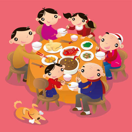 A Chinese family reunion dinner. It is a traditional practice of Chinese people to get all family members together and have a dinner to celebrate the festivals.