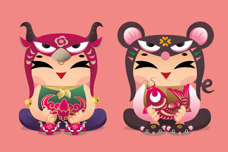 Chinese zodiac lucky kids: Ox and Mouse Illustration