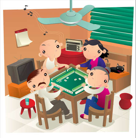 Hong Kong people playing Mahjong game in their home