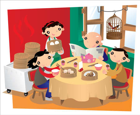People taking meal in an old Chinese restaurant in Hong Kong. It is a common habit of many Hong Kong people to go there for family gathering in every weekend mornings. Illustration