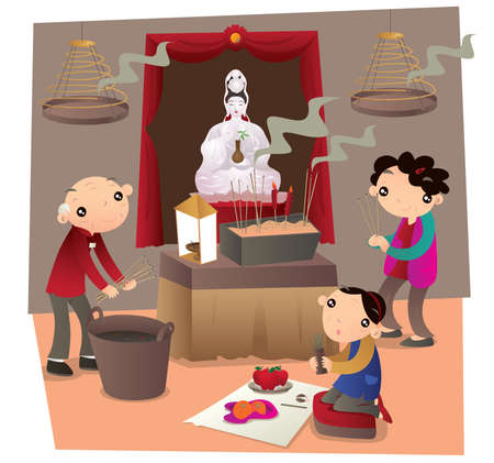 make belief: Hong Kong people go to Chinese temple and make worship Illustration