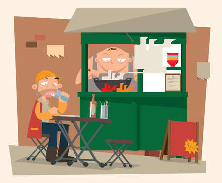 Vector illustration of roadside food stall in old Hong Kong Ilustração