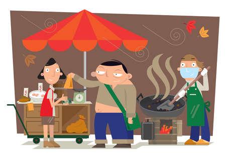 Street stir-fried chestnut hawker in Hong Kong Stock Illustratie
