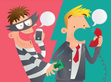 Illustration de bande dessinée d'une tromperie de téléphone. Un fraudeuse téléphone victime et frappe son argent avec succès.