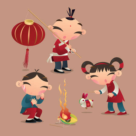 Chinese kids are playing their lanterns in Chinese lantern festival. One boy accidentally drop his lantern and let it catch on fire. Illustration