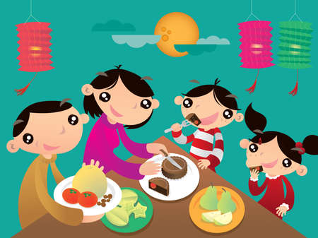 A Hong Kong family enjoys their family time and shares the festive foods in Chinese Lantern festival
