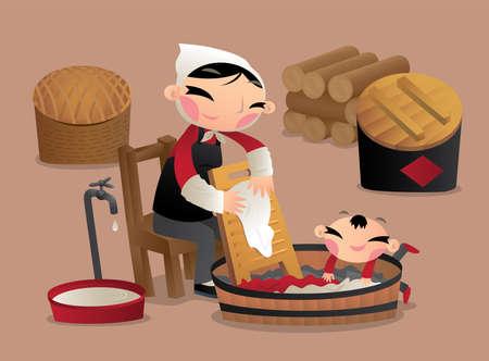옛 중국에서 손으로 옷을 씻는 한 마을 여자 일러스트