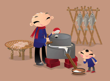 Un villaggio dell'uomo cinese che utilizza la macina per macinare i chicchi Vettoriali