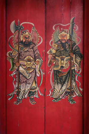 Taken on 1 August 2017. Chinese door gods painting. Chinese people used to paste it on their houses' front doors to pray for good luck and to prevent evil spirits from entering. Editorial