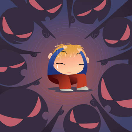 Concept illustration of a scared little boy is being bullied by a group of people.