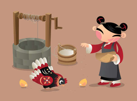old times: A Chinese village woman feeding chicken