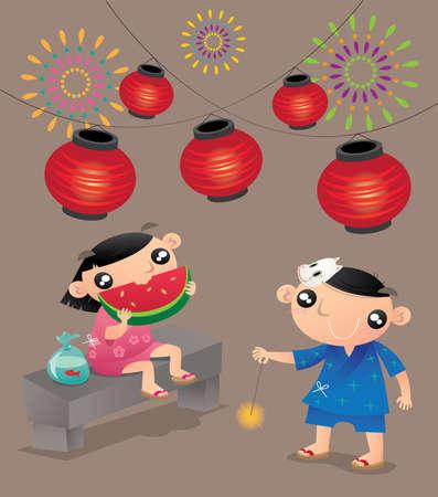 2 人の子供が日本の夏祭りで演奏します。  イラスト・ベクター素材