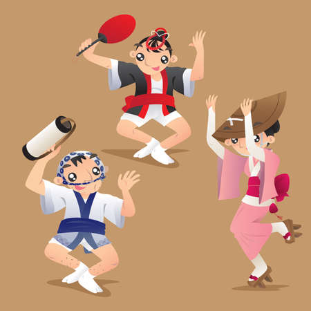 Illustration of female and male dancers of Awa dance festival in Tokushima Prefecture on Shikoku in Japan