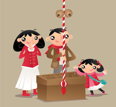 A Japanese family prays and makes worship at Japanese temple. Illustration