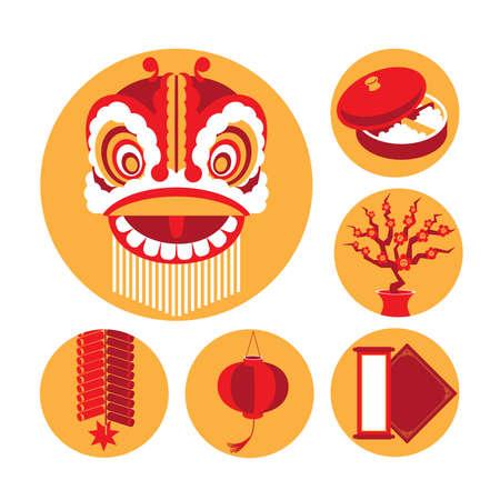 중국 새해 요소의 벡터 아이콘