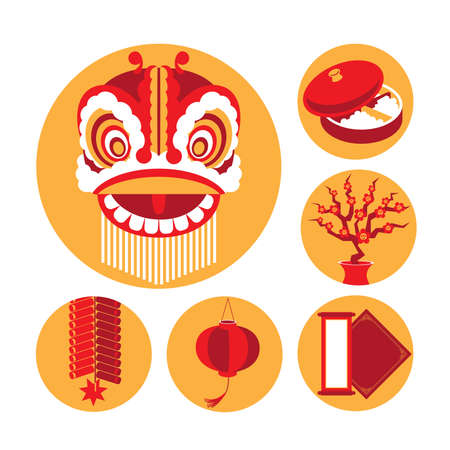 Vector icons of Chinese New Years elements
