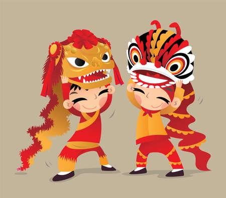 Dos niños chinos jugando las danzas del león del norte y del sur Ilustración de vector