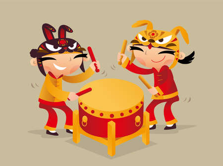 Two Chinese kids playing drum to celebrate Chinese New Year coming