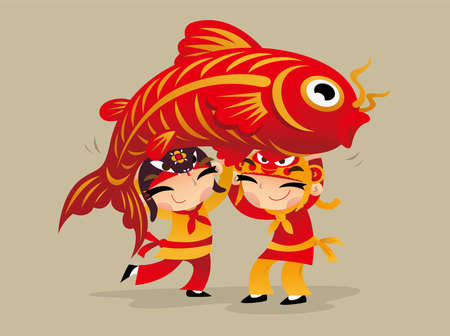Two Chinese kids carrying a big carp to celebrate Chinese New Year coming Ilustração