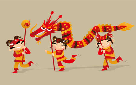 Three Chinese kids playing dragon dance to celebrate the Chinese New Year coming