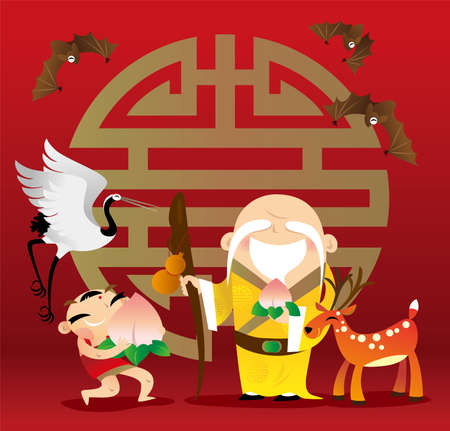 Traditional cartoon Chinese God of Longevity, Lucky Boy and the symbolic animals