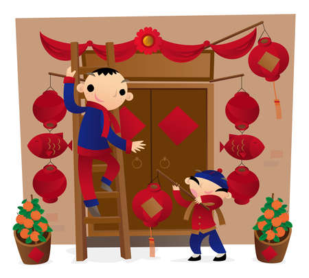 Preparing front door decoration for the Chinese New Year coming