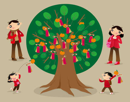 People throw joss paper onto the Wishing Tree and make wishes. It has been one of  the favourite Chinese New Year festival activities in Hong Kong in recent year. Illustration