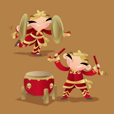 드럼과 심벌즈를 연주하는 중국 아이들 일러스트