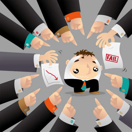 A man is surrounded and blamed by his colleagues because of poor performance