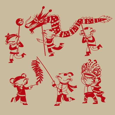 中国の紙切れアート:ドラゴンダンス、ライオンダンス、爆竹を演奏する子供たちが中国の新年を祝う