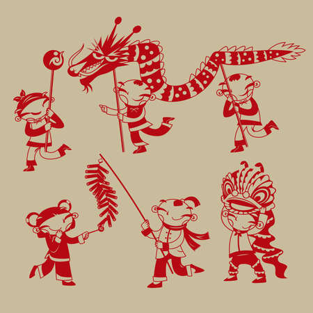 Chinese paper-cutting art: Kids playing dragon dance, lion dance and firecrackers to celebrate the Chinese new year coming