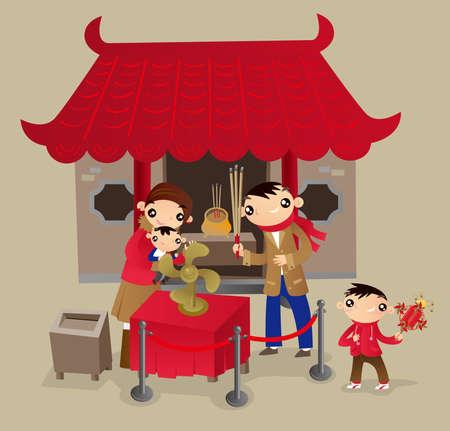 Hong Kong-Familie gehen zum chinesischen Tempel während des Festivals des Chinesischen Neujahrsfests. Das Glücksrad mit den Fächern drehen, um im kommenden Jahr viel Glück zu segnen.