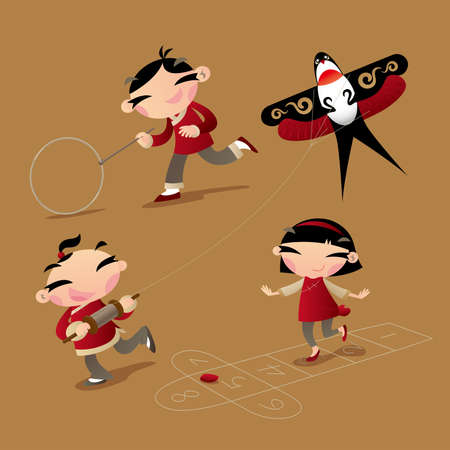 Classic old Chinese kid games: hoop rolling, kite flying and hopscotch Illustration