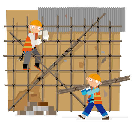 Vector illustration of bamboo scaffolding construction workers in Hong Kong 일러스트