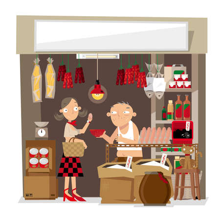 A Vector illustration of a small local grocery store in Hong Kong