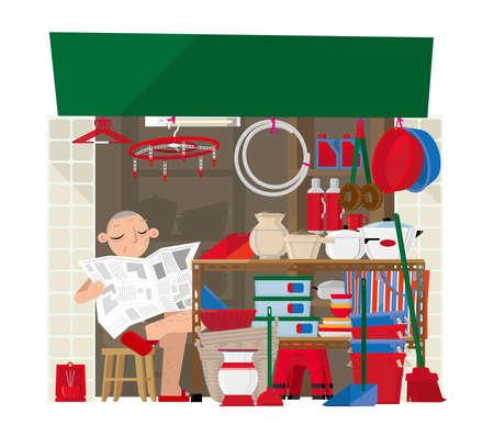 Vector Illustration eines kleinen Haushaltswarenspeichers in Hong Kong