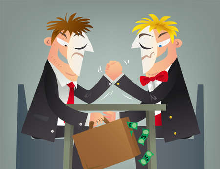 Concept illustration of a business fraud. On the table, it is a competition. Under the table, it is a cooperation.