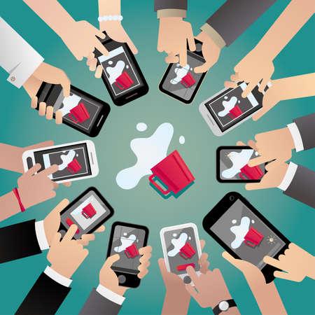 Concept illustration of a symptom of smartphone addiction. Vector illustration.
