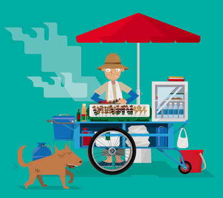 Street food vendor in Thailand vector illustration. Çizim