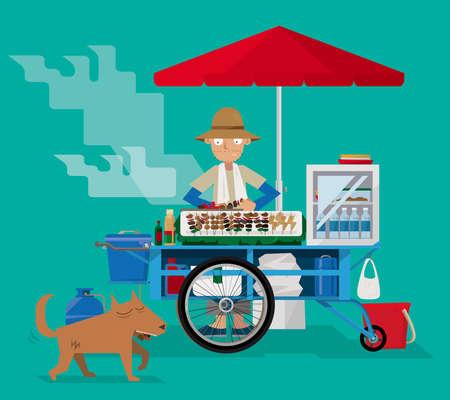 Street food vendor in Thailand vector illustration. Vettoriali