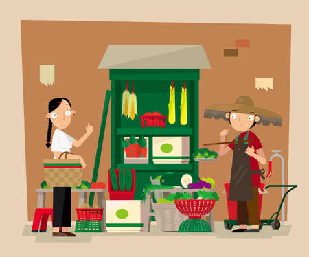 Vector illustration of a small roadside local vegetable stall.