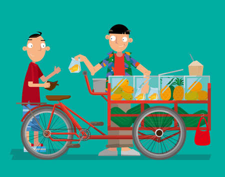 Vector illustration of a bicycle fruit hawker in Thailand. Illustration
