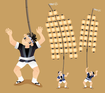 Performers display their balance skill of holding up a long bamboo pole by their different parts of bodies in the Japanese Pole Lantern festival (Kanto Matsuri). Illustration