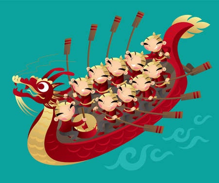 Cartoon illustration of a team of Chinese kids rowing Dragon boat to celebrate the Chinese Dragon Boat festival